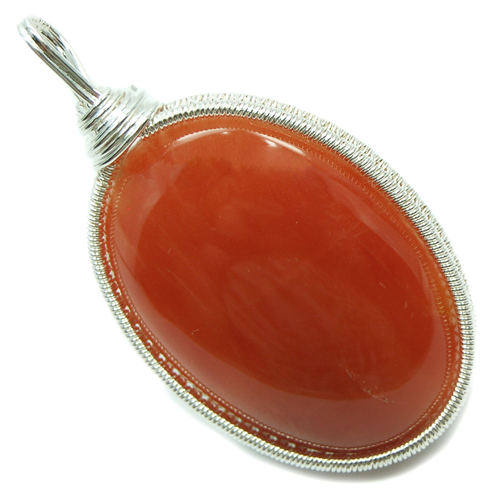 Pendants - Orange Aventurine Cabochon Wire Wrap Pendant (India)