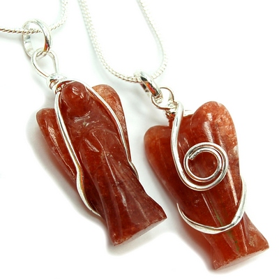 Pendants - Orange Aventurine Wire-Wrapped Angel Pendant (India)