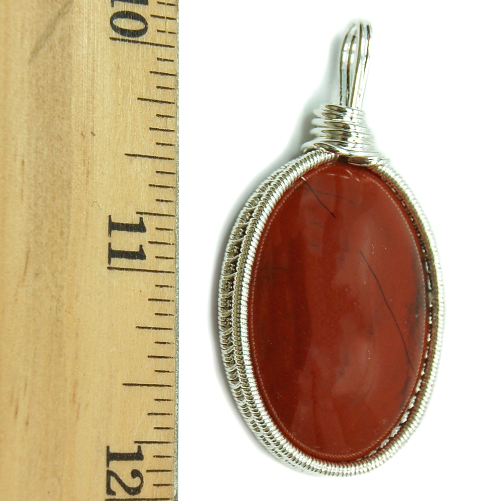 Pendants - Red Jasper Cabochon Wire Wrap Pendant (India)