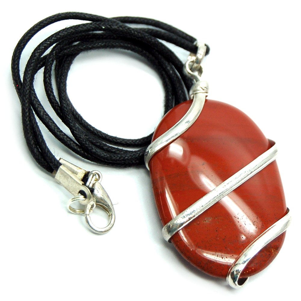 Pendants - Red Jasper Wrapped Cabochon Pendant (India)