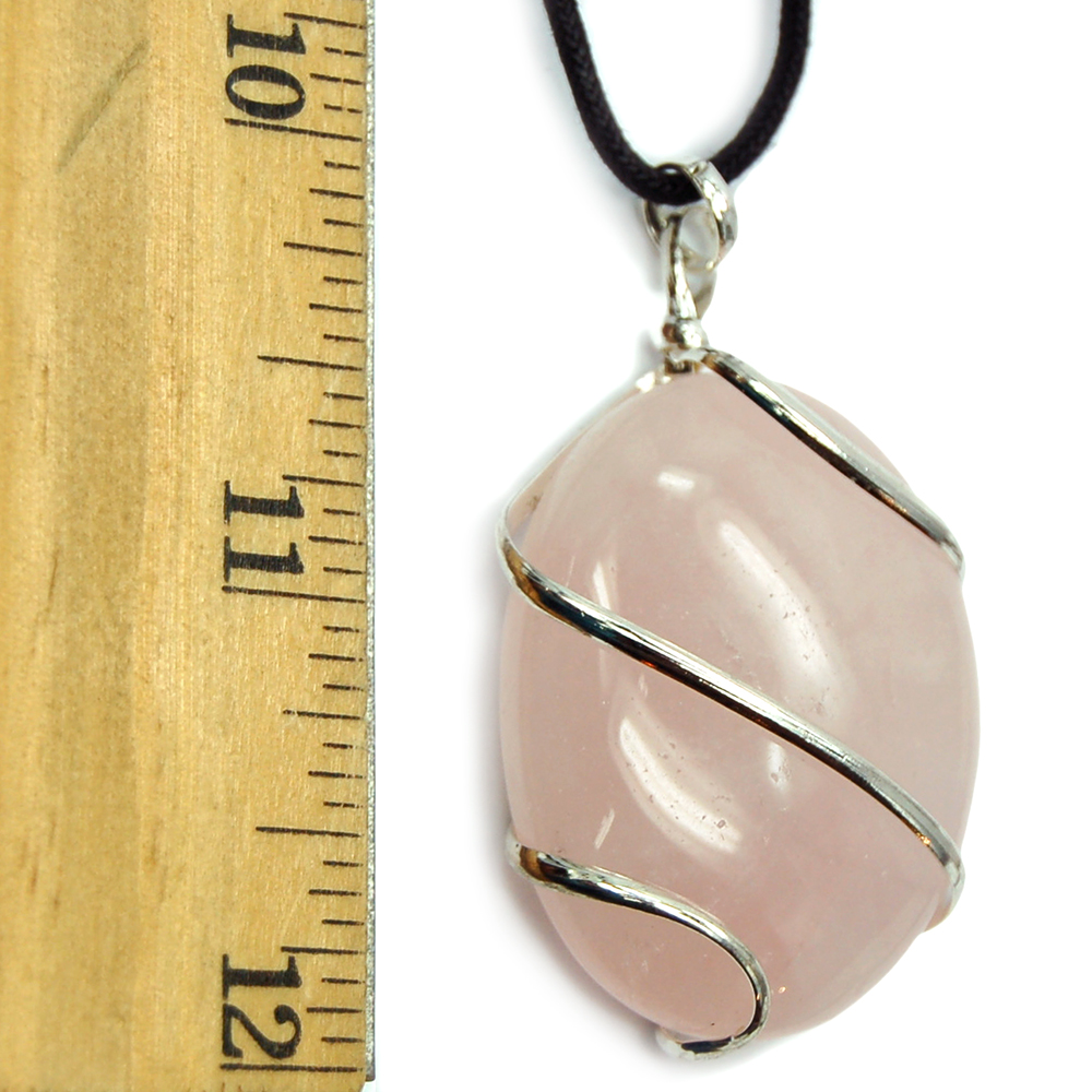 Pendants - Rose Quartz Wrapped Cabochon Pendant (India)
