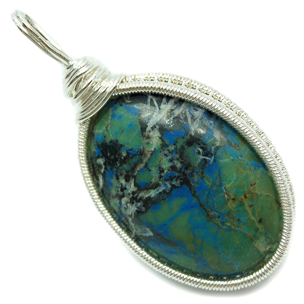 Pendants - Shattuckite Cabochon Wire-Wrap Pendant (India)