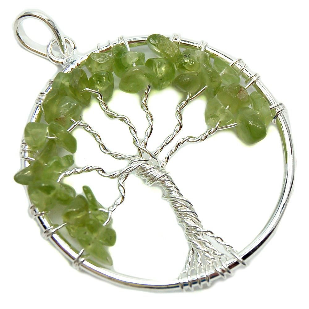 Healing Crystals Peridot Tree of Life Pendant