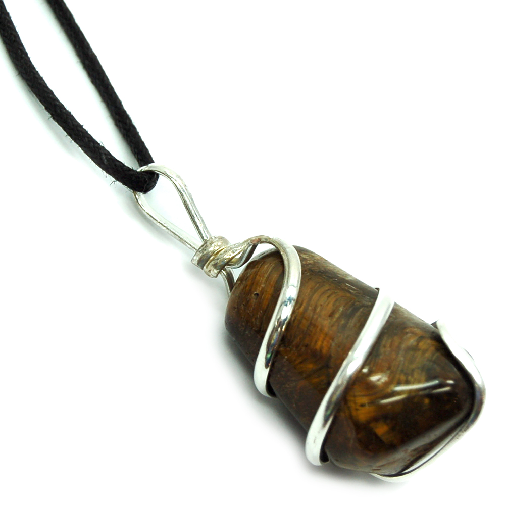 Pendants - Tumbled Golden Tiger Eye (Wrapped) Pendant (India)
