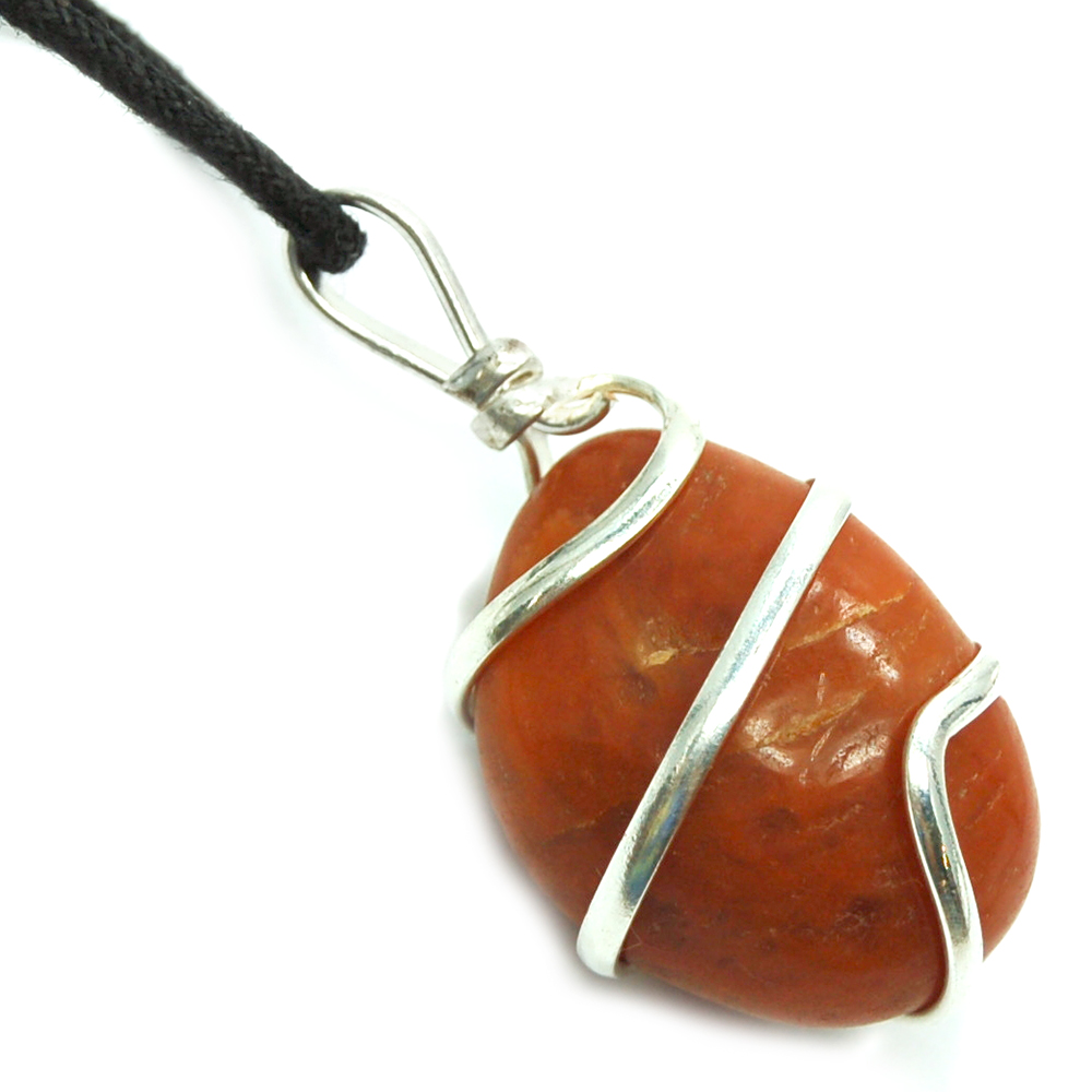 CLEARANCE - Tumbled Orange Aventurine (Wrapped) Pendant