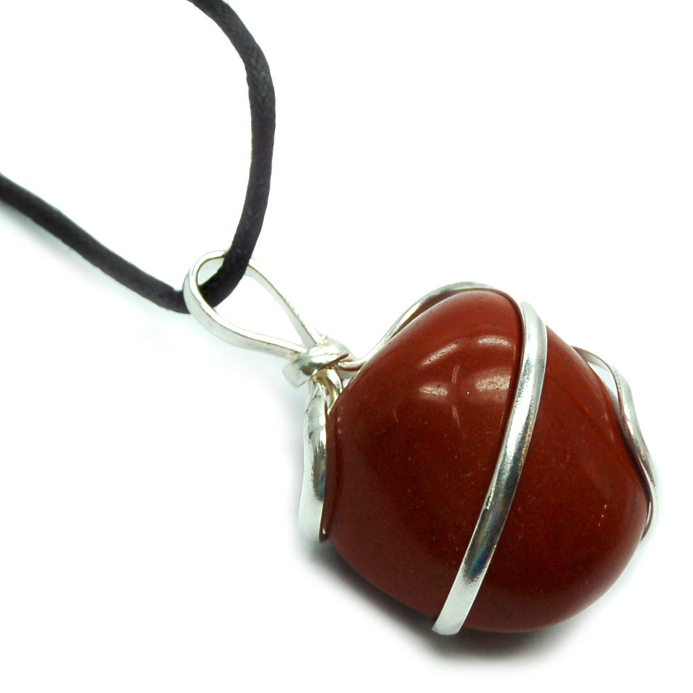 Pendants - Tumbled Red Jasper (Wrapped) Pendant (India)