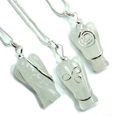 Pendants - White Aventurine Wire-Wrapped Angel (India)