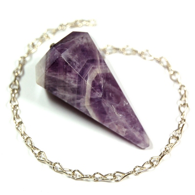 Discontinued - Banded Amethyst 6-Facet Pendulums (India)