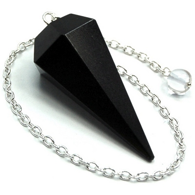 CLEARANCE - Pendulum - Black Agate 6-Facet Pendulums (India)