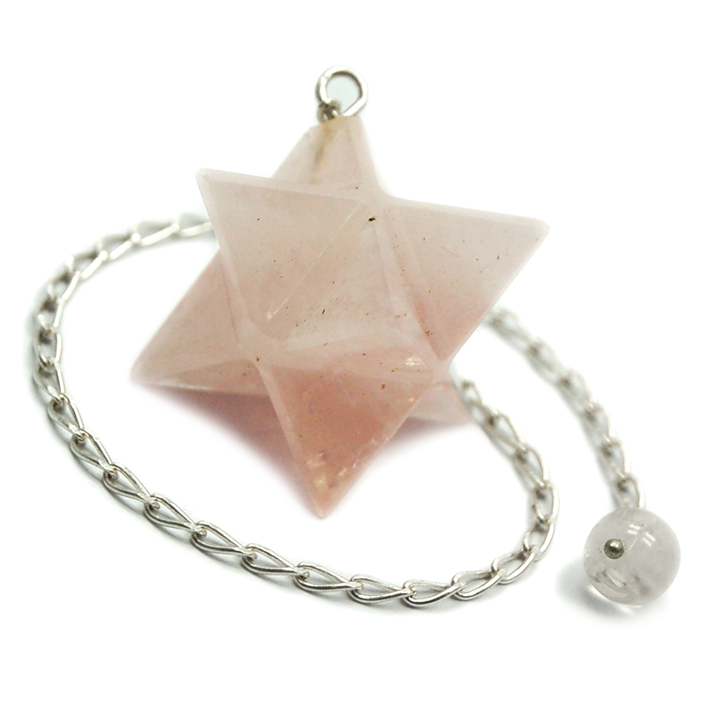 Pendulum - Rose Quartz Merkaba Crystal Pendulums (India)
