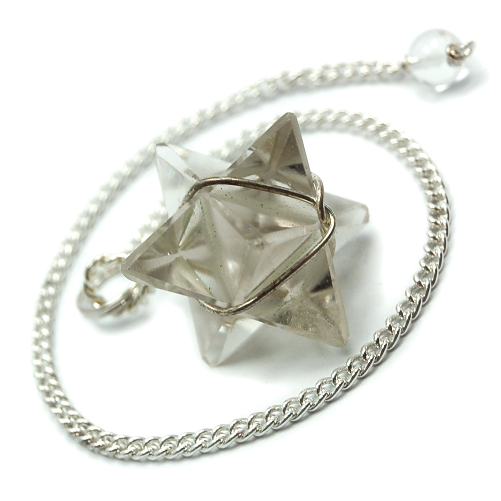 Pendulum - Smokey Quartz Merkaba Pendulums (Wrapped) (India)