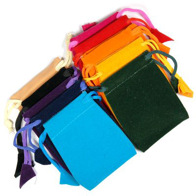 3x4 Velveteen Crystal Pouches w/Drawstring