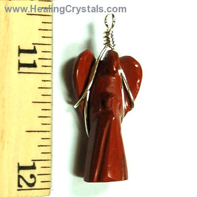 Pendants - Red Jasper Wire-Wrapped Angel Pendant (India)