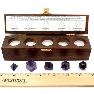 Sacred Geometry - Amethyst Platonic Solids (India) - 5pcs.