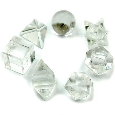 Sacred Geometry - Clear Quartz Platonic Solids (India) - 7pcs.