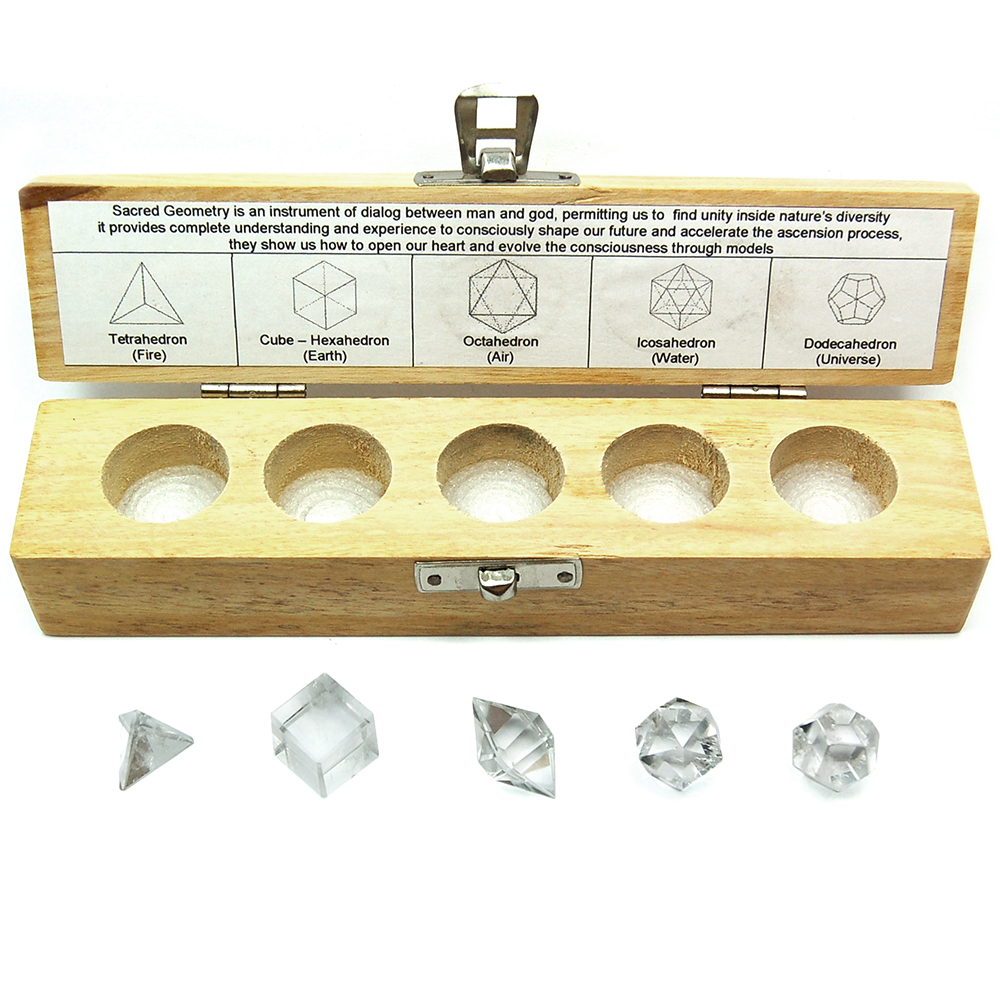 Sacred Geometry - Clear Quartz Platonic Solids (India) - 5pcs.