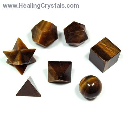 Sacred Geometry - Golden Tiger Eye Platonic Solids (China)