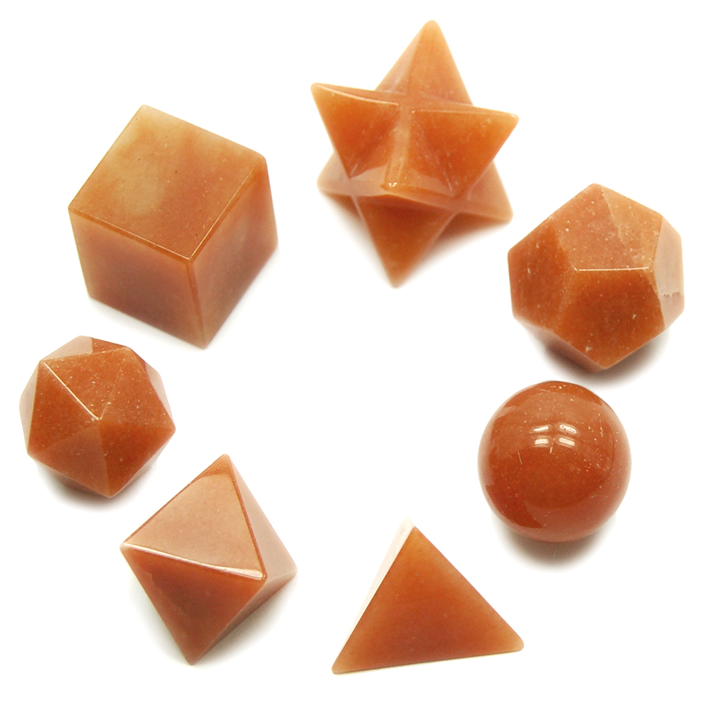Sacred Geometry - Orange Aventurine Platonic Solids (China)
