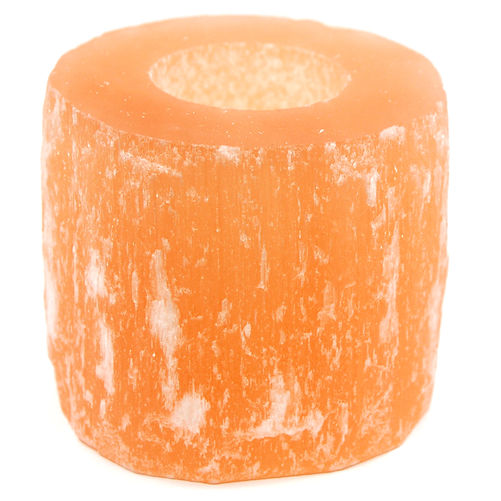 Selenite Cylinder Tea Lights - Orange (Morocco)