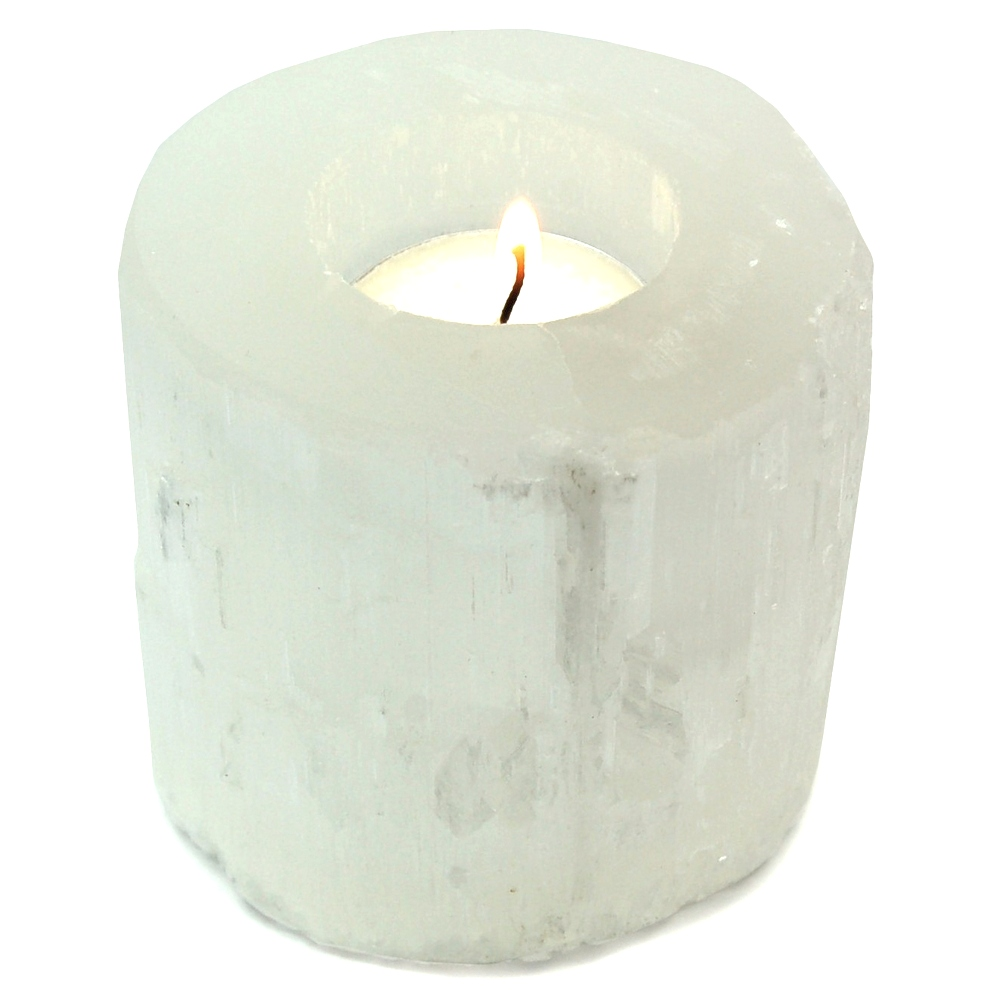 Selenite Cylinder Tea Lights (Morocco)