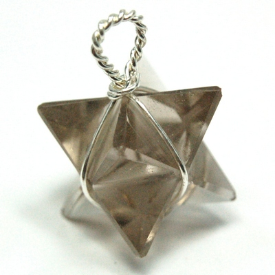 Pendants - Smokey Quartz Merkaba Pendant (Wrapped) (India)