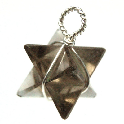 Merkaba Wire Wrap Pendant - Light Smokey Quartz photo 2