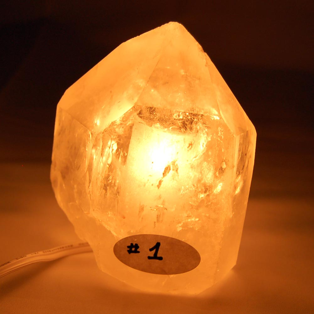 Top Polished Clear Quartz Lamp w/Cord