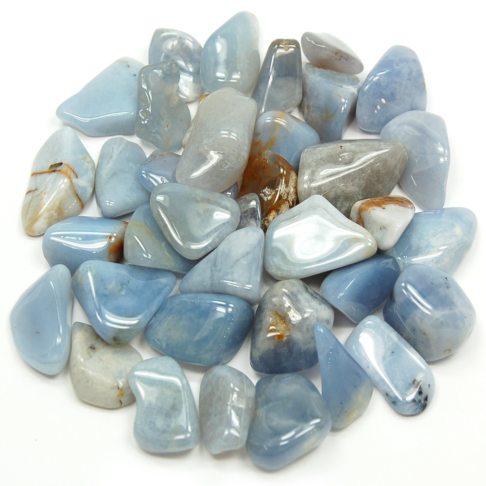 Tumbled Blue Chalcedony (Brazil)   Tumbled Stones  Blue Chalcedony    Healing Crystals