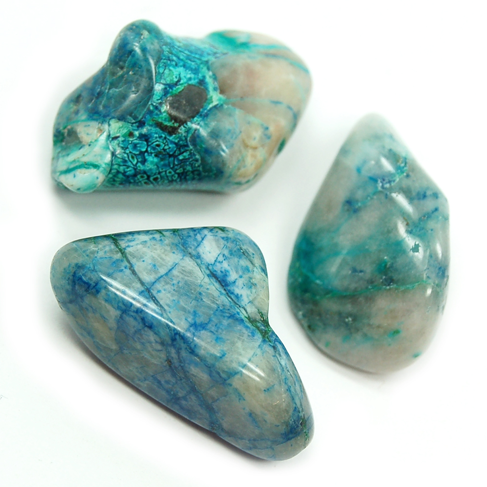 Tumbled Chrysocolla in Quartz
