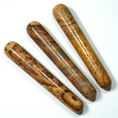 Wand - Picture Jasper Massage Wands (Round Ends) (India)