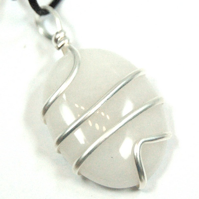 CLEARANCE - White Aventurine Wrapped Cabochon Pendant (India)