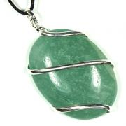 Pendants - Green Aventurine (Wrapped) Cabochon Pendant (India)