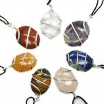 CLEARANCE - 10pc. Chakra Cabochon (Wrapped) Pendants (India)