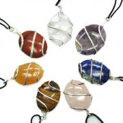 Pendants - 10pc. Chakra Cabochon (Wrapped) Pendants (India)