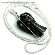 CLEARANCE - Black Agate Wire-Wrapped Angel Pendant (India)