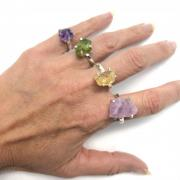 Stone Rings - Sterling Silver Natural Crystal Rings (India)