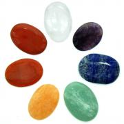CLEARANCE - Cabochons - 10 Chakra Oval Cabochon Set #2 (India)