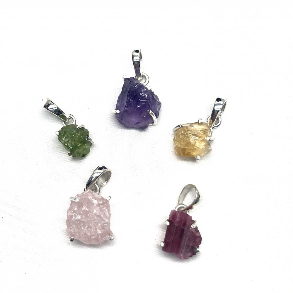Assorted Silver and Natural Gemstone Pendants